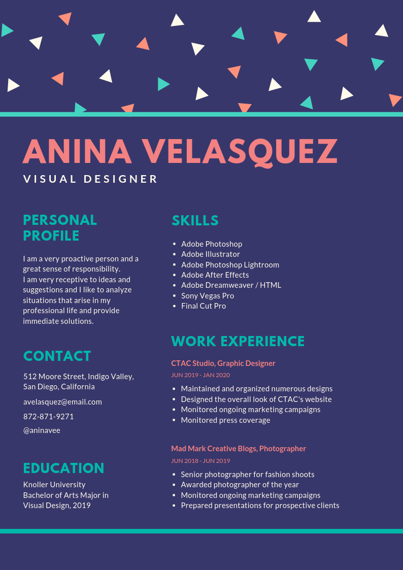 Template CV Colorful #5