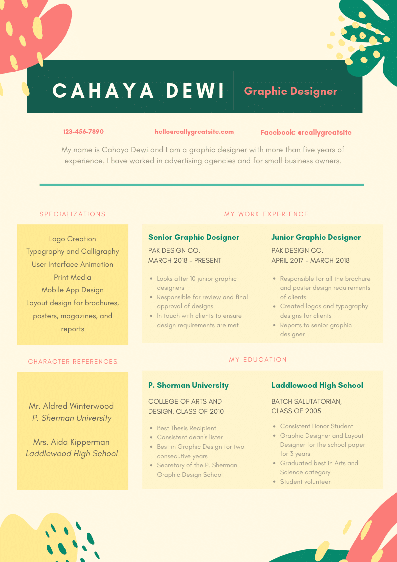 Template CV Colorful #2