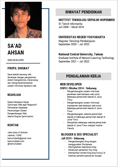 Template CV Word Gratis #1 - November 2019