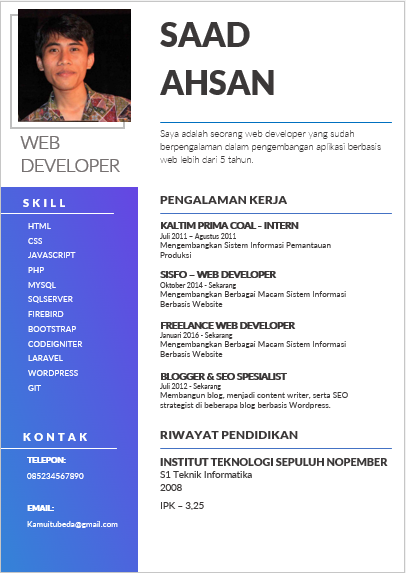 Template CV Word Gratis Januari 2020